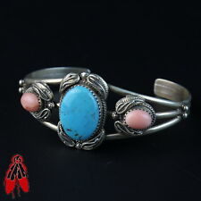 Turquoise and pink stone sterling silver bracelet Vintage Navajo pawn jewelry