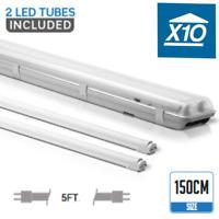 10 X 5FT IP65 Non corrosive Fluorescent Light Fittings T8 LED Tube Twin Batten