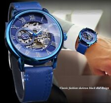 Mens Mechanical Watches Full Blue Hand Winding Analog Genuine Leather Belt