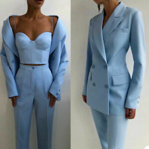 Chic Fashion Women Suits Party Wear Tuxedos Peaked Lapel Double Breasted Jacket