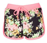 New Ladies Womens Girl Floral Flower Print Beach Casual Summer Hot Pants Shorts