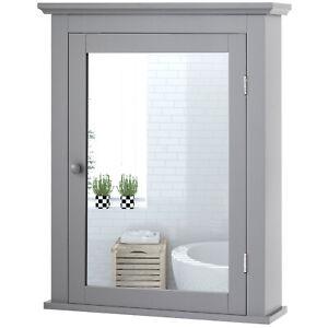 Costway Bathroom Mirror Cabinet Wall Mounted Adjustable Shelf Medicine Gray