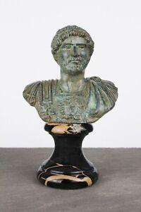 Roman Bust Statue of Hadrian (Green Bronze)  - Famous Roman Emperor