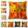 "Maple Leaf Cotton Linen Waist Cushion Pillow Case Cover Home Car Sofa Bed 18"""