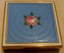 New listing * Vintage Evans Rose Deco Guilloche Enamel Ladies Compact With Pouch Nice Look