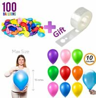 100 pcs Party Balloons Assorted Color 12 inch, Helium Quality Latex for Party