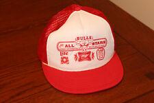 Vintage Chicago Bulls / Miller Lite Beer Snapback Trucker Cap Hat Red White