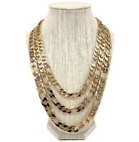 14k Italian Figaro Link Chain Necklace 9mm 10mm 12mm Gold Plated
