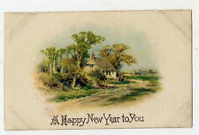 POSTCARD - SILK - NEW YEAR - VINTAGE WINSCH - THATCHED ROOF COTTAGE
