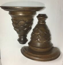"Vintage Pair of ornate hand carved wood wall shelf 11""  / Handmade / Set of 2"
