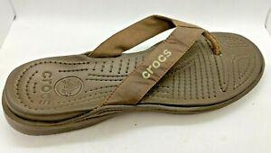 Crocs Slip On Flip Flop Sandals Sz 11 Brown Leather Vinyl Strap