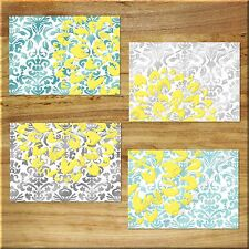 Teal Gray Yellow Aqua Wall Art Prints Pictures Floral Damask Bathroom Bedroom +