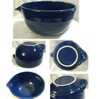 Vintage Pottery / Stoneware Royal Blue Ringed Batter Bowl with Spout & Base Tab