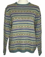 LL Bean Womens Size Large Pullover Sweater 100% Lambs' Wool Fair Isle Nordic Ski