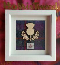 Harris Tweed Heather Tartan & Birch Wood Thistle Picture. Handcrafted Gift.