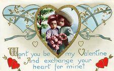"""Won'T You Be My Valentine"" Romantic Embossed Valentine Greeting Postcard"