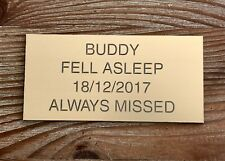 Pet Memorial Personalised Brass Plaque Engraved Dog Cat Grave small 7.5 x 3.5cm