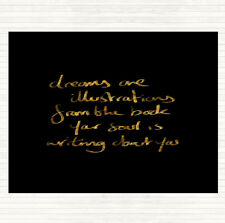 Black Gold Dreams Are Illustrations Quote Mouse Mat Pad