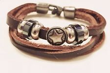 FASHION JEWELRY Star Engraved Steel Gunmetal Beads Brown Leather Strap Bracelet