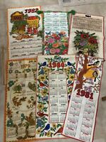 Vintage LOT OF 6 Cloth Fabric Calendars Nature Food Design 1979 through 1984 EUC