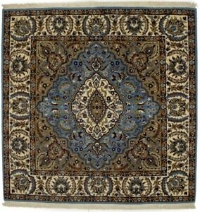 Blue Thick Pile Hand-Knotted New Kirman Square 5X5 Oriental Wool Area Rug Carpet