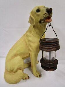 Realistic Yellow Lab Dog Garden Sculpture Holding Solar Lighted Lantern