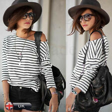 Women Long Sleeve Blouse Tops Ladies Casual Loose Stripe Shirt off Shoulder XL