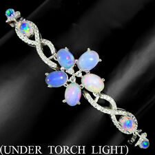 REAL NATURAL HOTRAINBOW FIRE OPAL,W CZ STERLING 925 SILVER FLORA TENNIS BRACELET