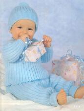 Knitting Pattern- Cute Baby Boy  Easy Knit sweater- trousers & hat in 4 ply wool