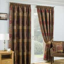 2 x Pairs 66 x 90 Casablanca Terracotta Curtains Jacquard Lined with Tie Backs