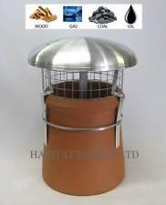 Chimney Pot Rain Cowl Cap Top Bird Guard - Heavy Duty Aluminium - Strap - Stove
