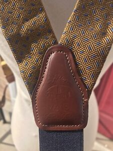 Brooks Brothers Silk Leather Suspenders Braces Vtg