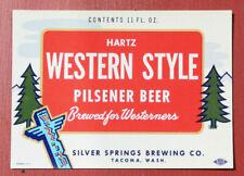 New listing 1960 Pioneer Dunkel Brau 11 oz Beer Bottle Label Silver Springs Brew. Tacoma, Wa