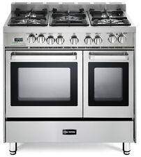 "Verona VEFSGE365NDSS 36"" Pro-Style Dual Fuel Double Oven Range Stainless Steel"