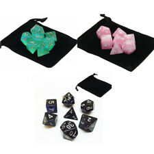 7PCS Polyhedral Dice with Bag Green Set DnD RPG 4 6 8 10 12 20 D4-D20