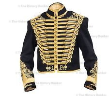 Napoleonic Tunic - black wool gold embroidery gold frogging  - made to order