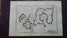1780 Roux Meucci: Portolano Mappa Isola di Milos Kimolos Plaka Pollonia Grecia