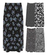 New Womens Plus Size Floral Print Elasticated Waist Full Length Maxi Skirt 14-28