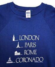 Vintage Mens L 1985 London Paris Rome Coronado Travel Vacation Blue Sweater