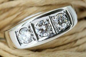 0,80 ct. Diamant Ring Gold 585 Weißgold 14 K 3 Brillanten ca. VVS-VS G Größe 61