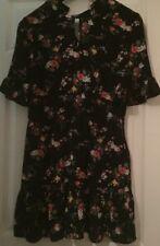 Miss Selfridge Petite Black FloralTea Dress Uk 12 Rrp£35