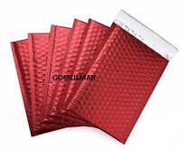 50 pk # 2  8.5X12  Matte Metallic  Red  bubble Mailers waterproof inside 8.5x11