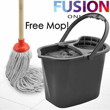 15 LITRE LARGE PLASTIC MOP BUCKET CLEANING BUCKET BASKET WRINGER WITH FREE MOP