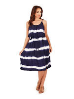 Pistachio Womens Tie Dye Midi Dress With Frill Overlay Ladies New Boho Sundress