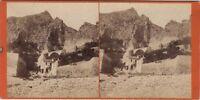 Menton Pont St.Louis Francia Foto Lucchesi Nice Stereo Vintage Albumina c1868