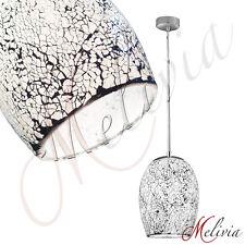 Suspension ø 18cm 1x60W Blanc Mosaïque Verre Lampe Suspension Plafonnier