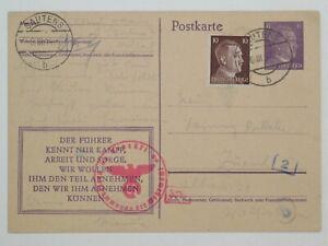 (q305) Ostmark Zensur- Ganzsache P 312 Sautens 6.III.1944 in die Schweiz