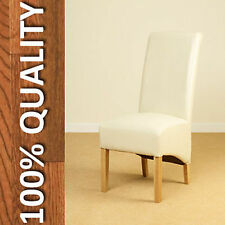 Pair Faux Leather Dining Chairs Scroll High Back Seat Roll Top Solid Oak Legs Ivory 4 Pairs