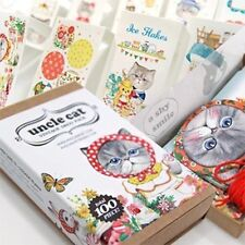 100X Paper Cute Uncle Cat  Deco Sticker Bookmark Tag Scrapbooking Gift Card Seal