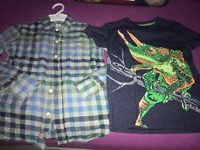 Boys Gap Cat And Jack Long Sleeve Flannel Shirt Lot, Size 8, Lizard T Euc!